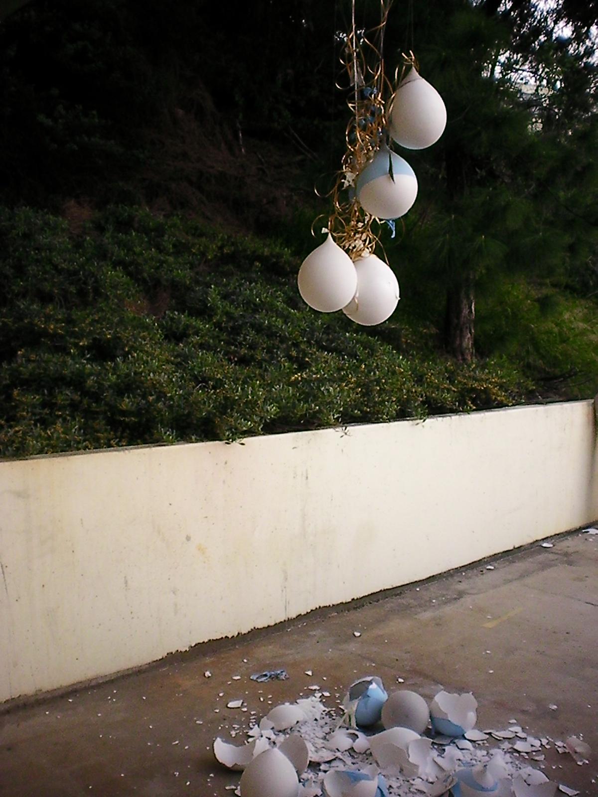 Biliousness, 2011   6' x 5' x 12'  Plaster, Balloons, Mono-filament, Mirror