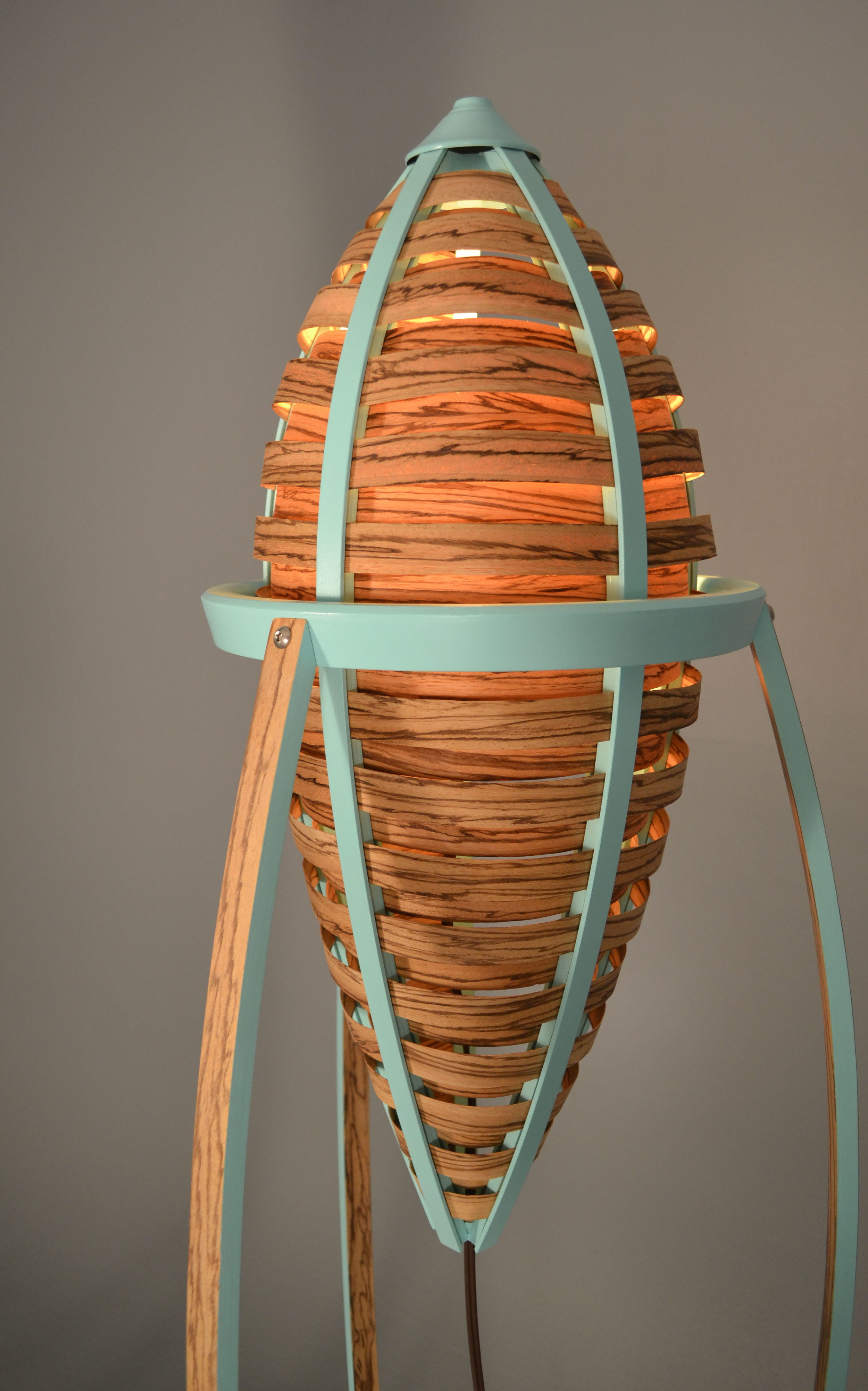 Tsiolkovsky Lamp t202 , 2013   3' x 5' x 3'​  Zebrawood Veneer, Poplar, Paint  Photographed by Ryan Gray