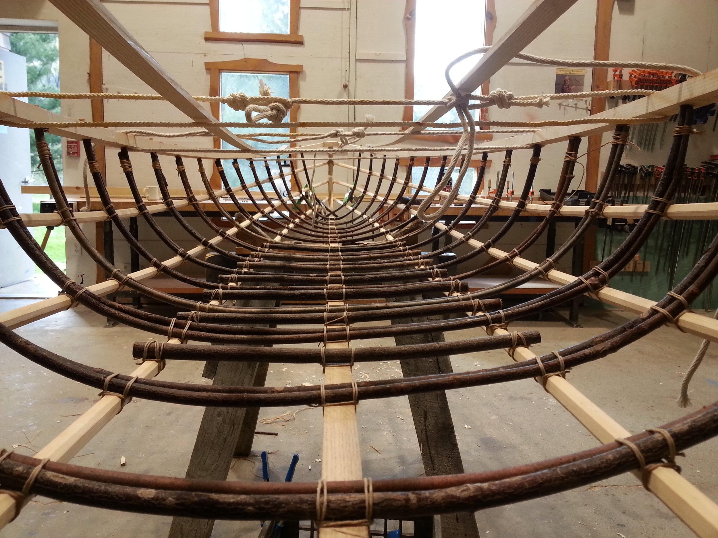 Traditional Willow Rib Canoe (Detail)
