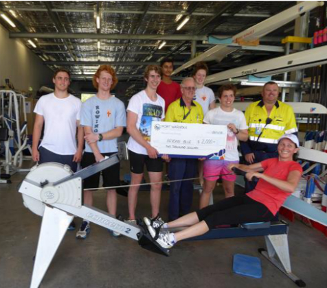 Cheque for $2000 being presented to Lachlan Patey and Evan Gresham with Audreys crew member Gunilla Burrowes continuing her half hour ergo segment.