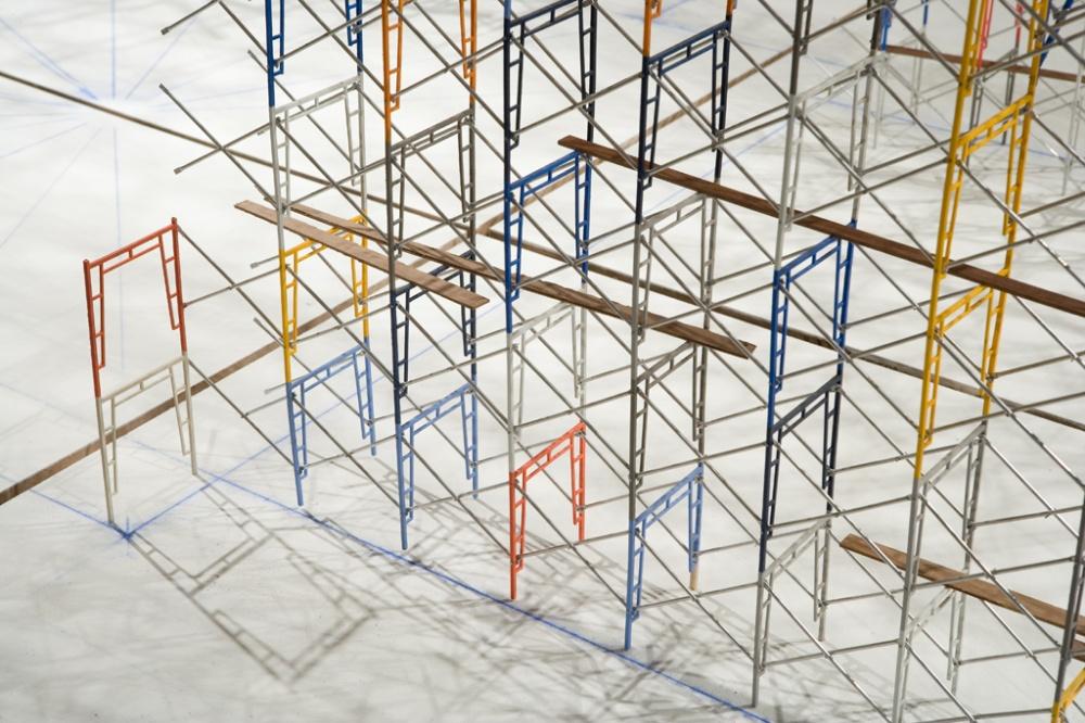 09_Tom Lauerman, Scaffold (work in progress), 2004 - present; wood, metal, paint; 120x60x72.jpg