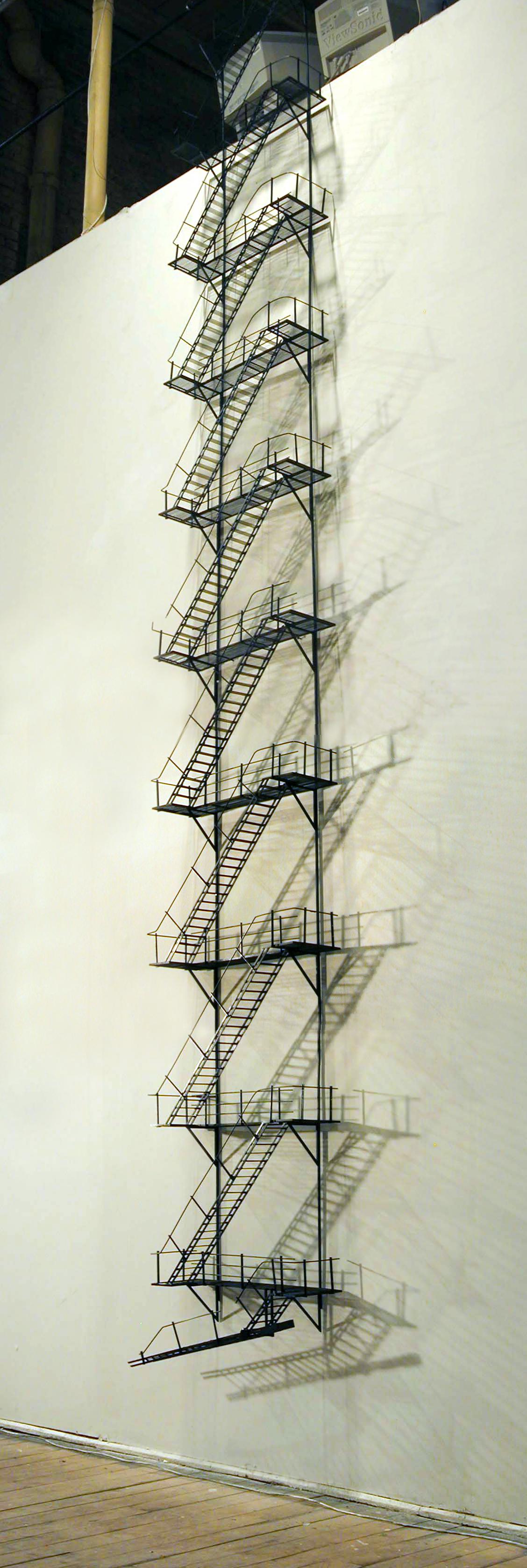 05_Tom Lauerman, Fire Escape (Detail), 2004, wood, metal, plastic, paint, 18x4x180, private collection.jpg