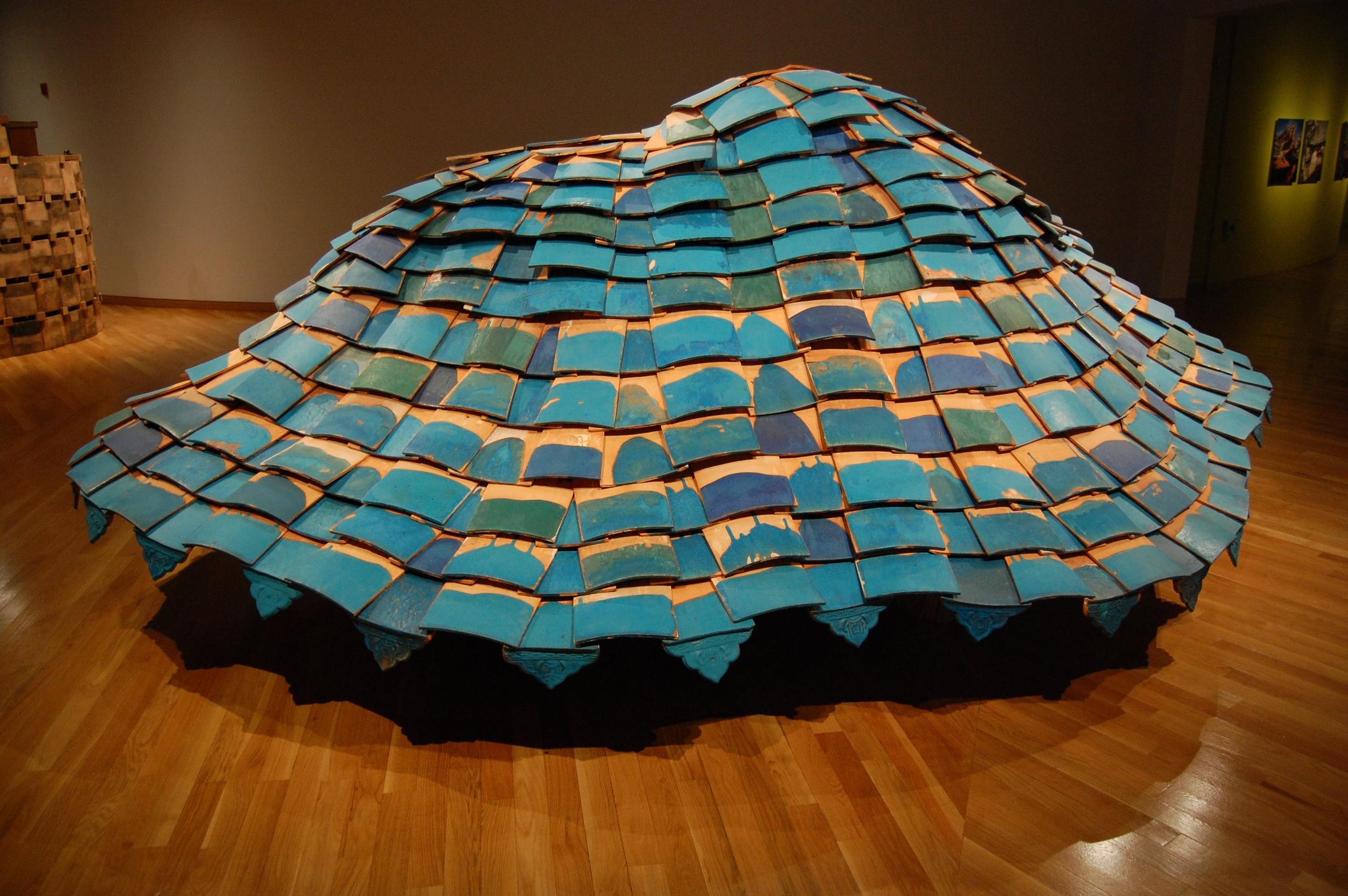 "Tom Lauerman & Shannon Goff, Hovercraft, Ceramic & wood, 2008, 240"" x 120"" x 74"""