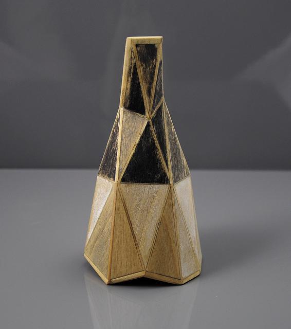 """Gemini , wood, paper, ink, 3"""" x 3"""" x 5.5"""", 2013"""