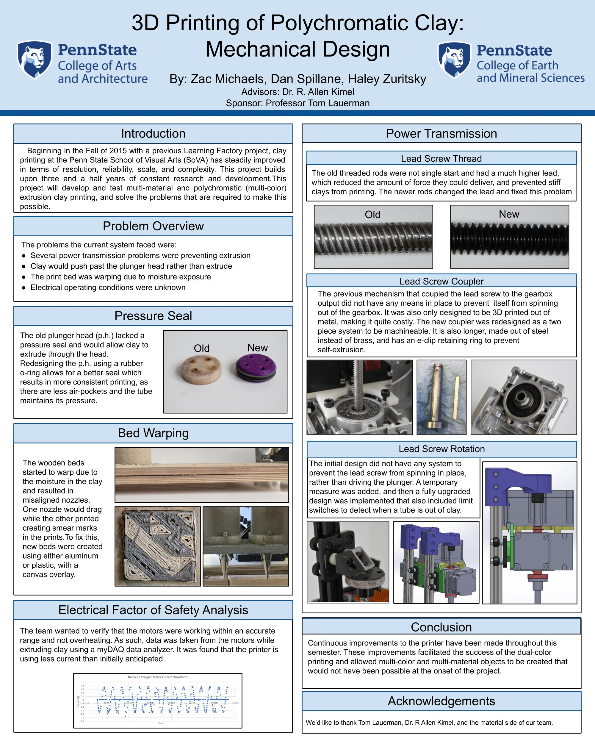 "poster outlining work conducted by the ""mechanical"" side of the team."