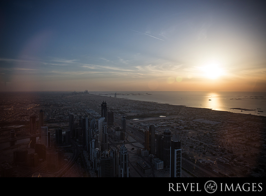 Sunset from the 125th floor of the Burj Khalifa