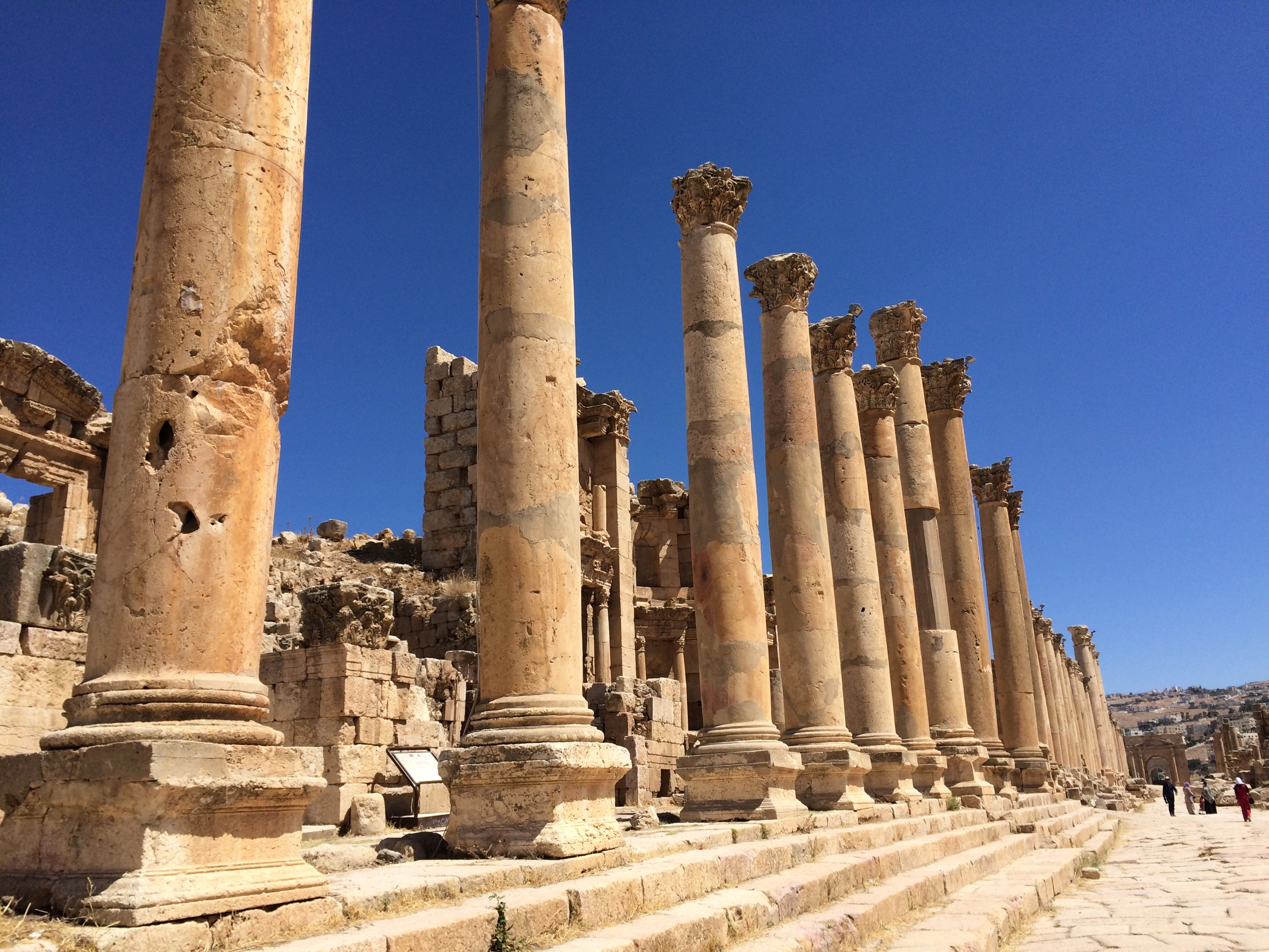 Only a few of the many columns still standing in Jerash