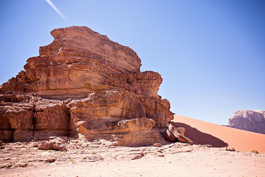 In the desert of Wadi Rum