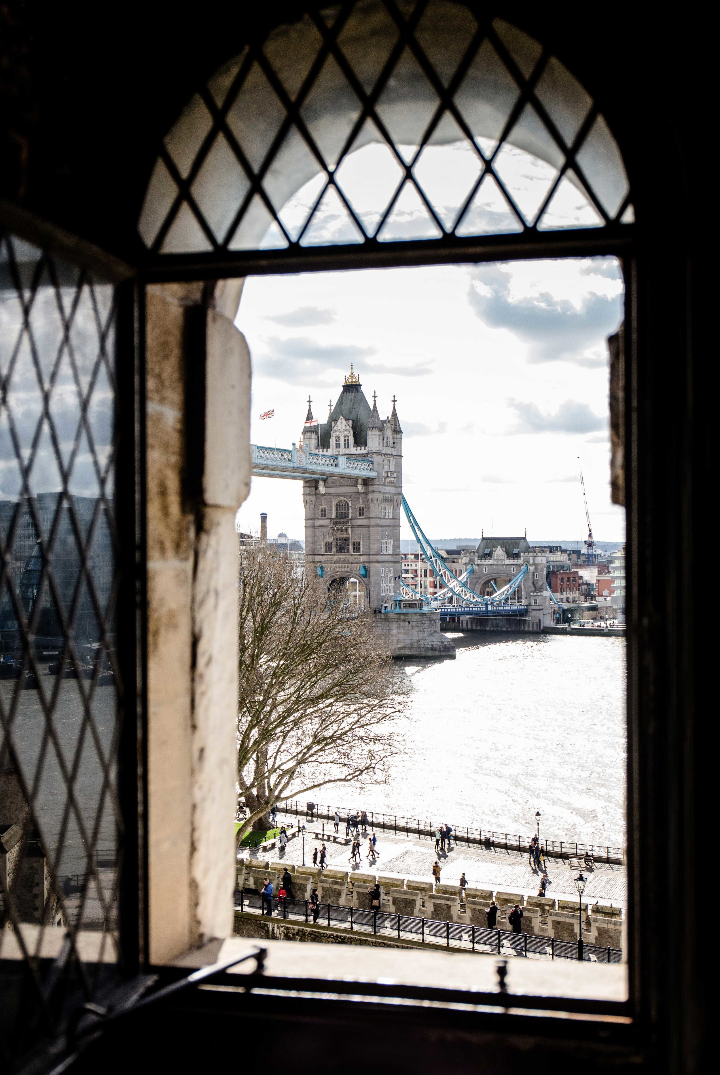 View of the Tower Bridge in London from the Tower of London