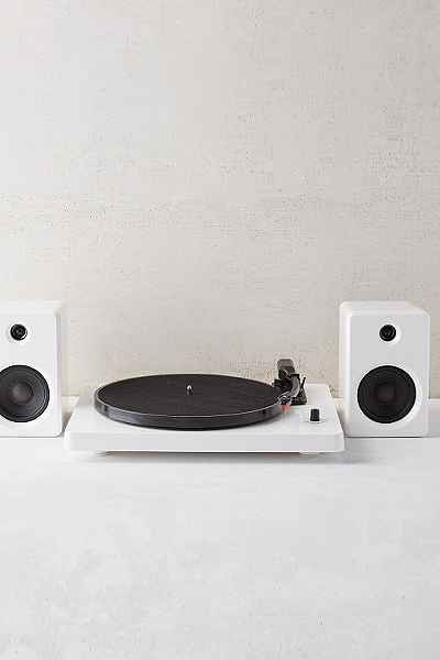 This simple record player and speakers.  $169 at  urban outfitters