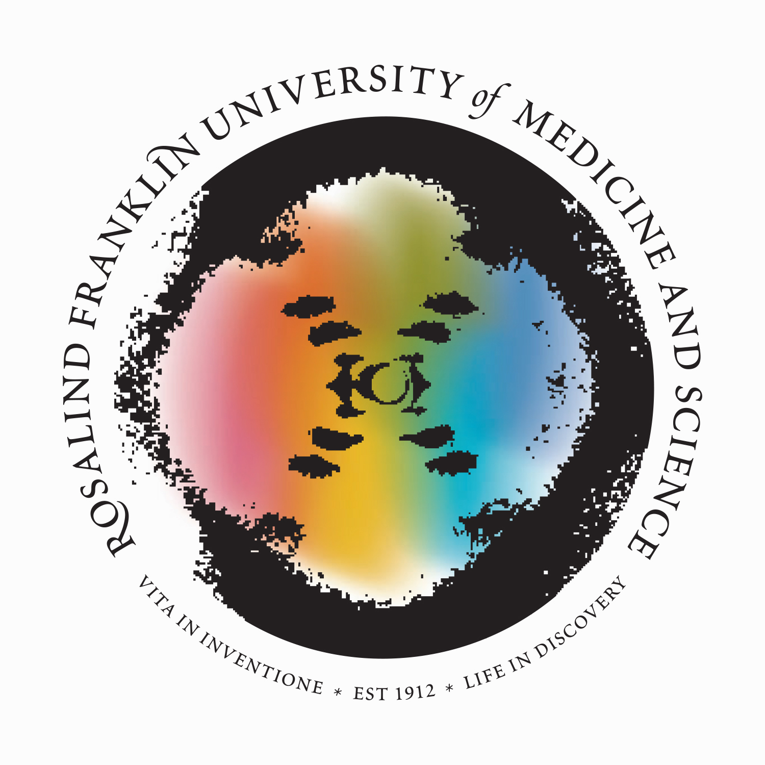 The logo utilizesPhoto 51 - the image of DNA that Franklin was the first to capture. Thespectrumsignifies x-ray crystalography,the process she used to capture the image.