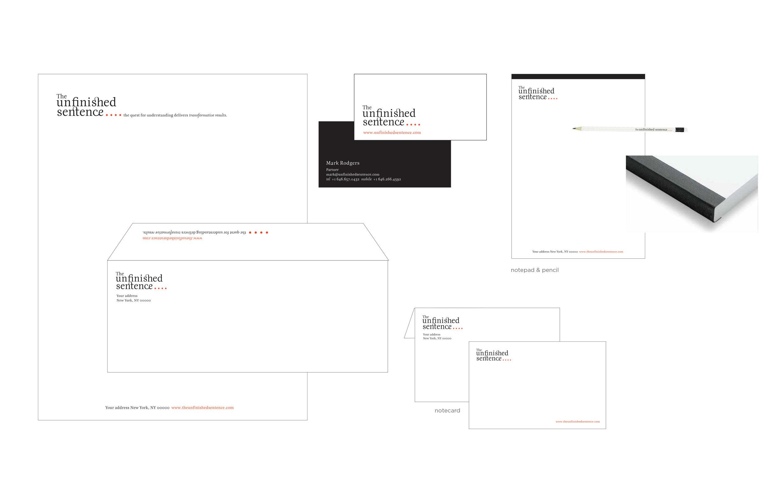 Brand Design for marketing firm Unfinished Sentence