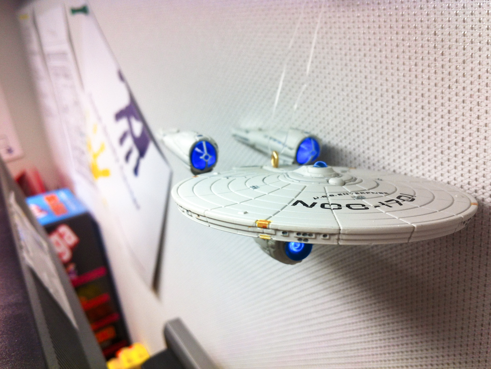 October 22, 2012: This model of the U.S.S. Enterprise, hanging in my hospital office, reminds me of the human potential to change and grow.