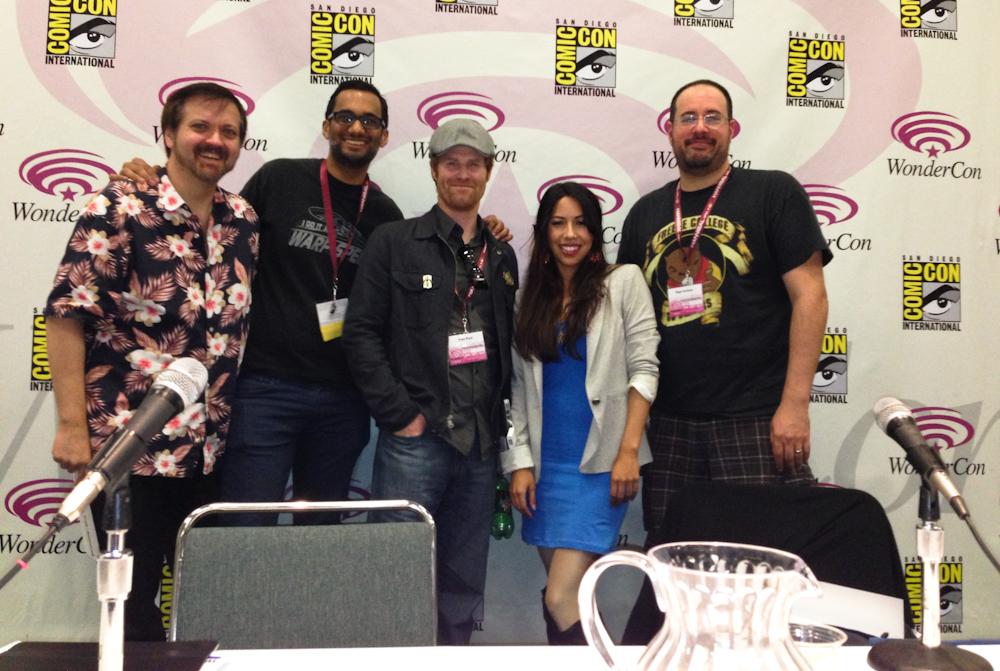 Left to Right:Larry Nemecek, myself,Brian Ward,Andrea Letamendi, andHugh Sterbakovonthe psychology of Star Trek Versus Star WarsWonderCon panel.
