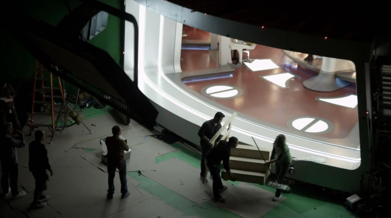 Behind the scenes of the Enterprise bridge.