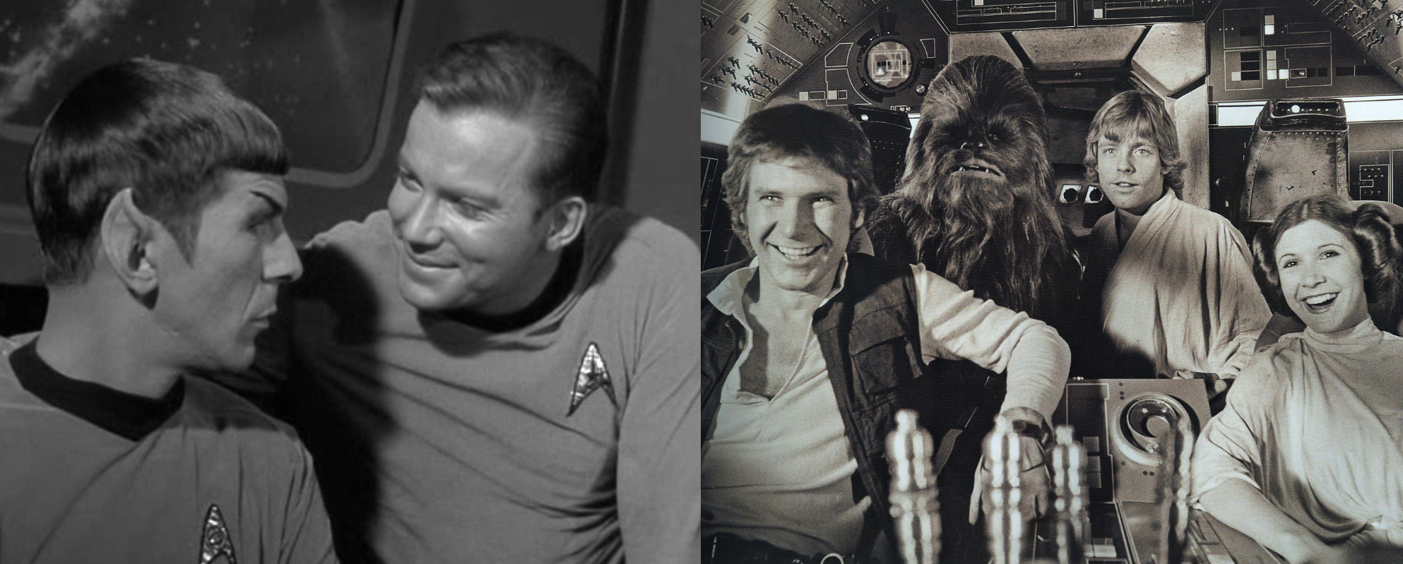 Star Trek's Kirk and Spock, Star Wars's Han Solo, Chewie, Luke, and Leia