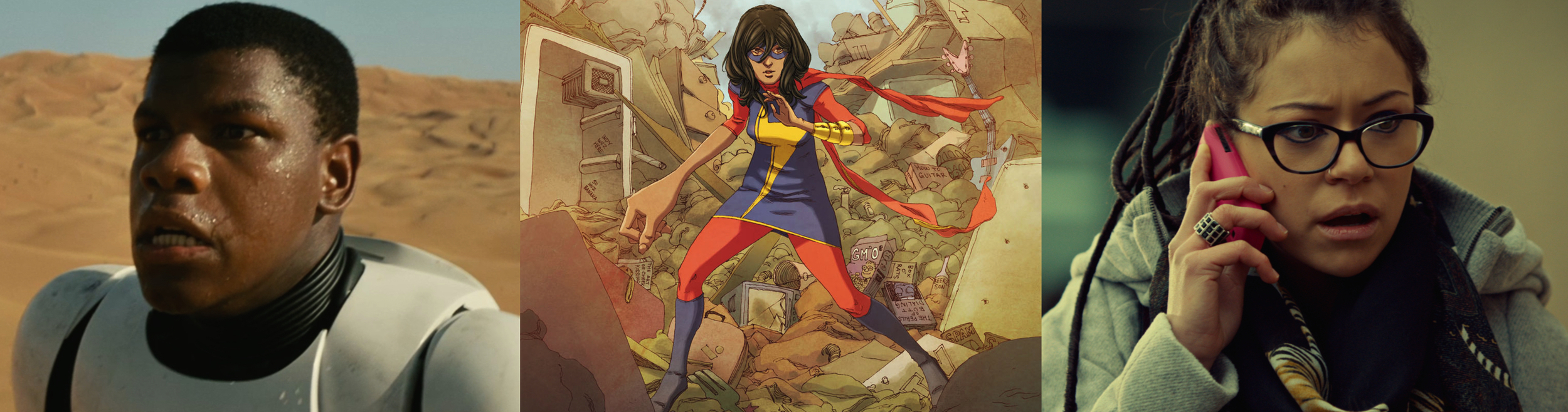 Star Wars: The Force Awaken's John Boyega, Ms. Marvel (Kamala Khan), Orphan Black's Cosima