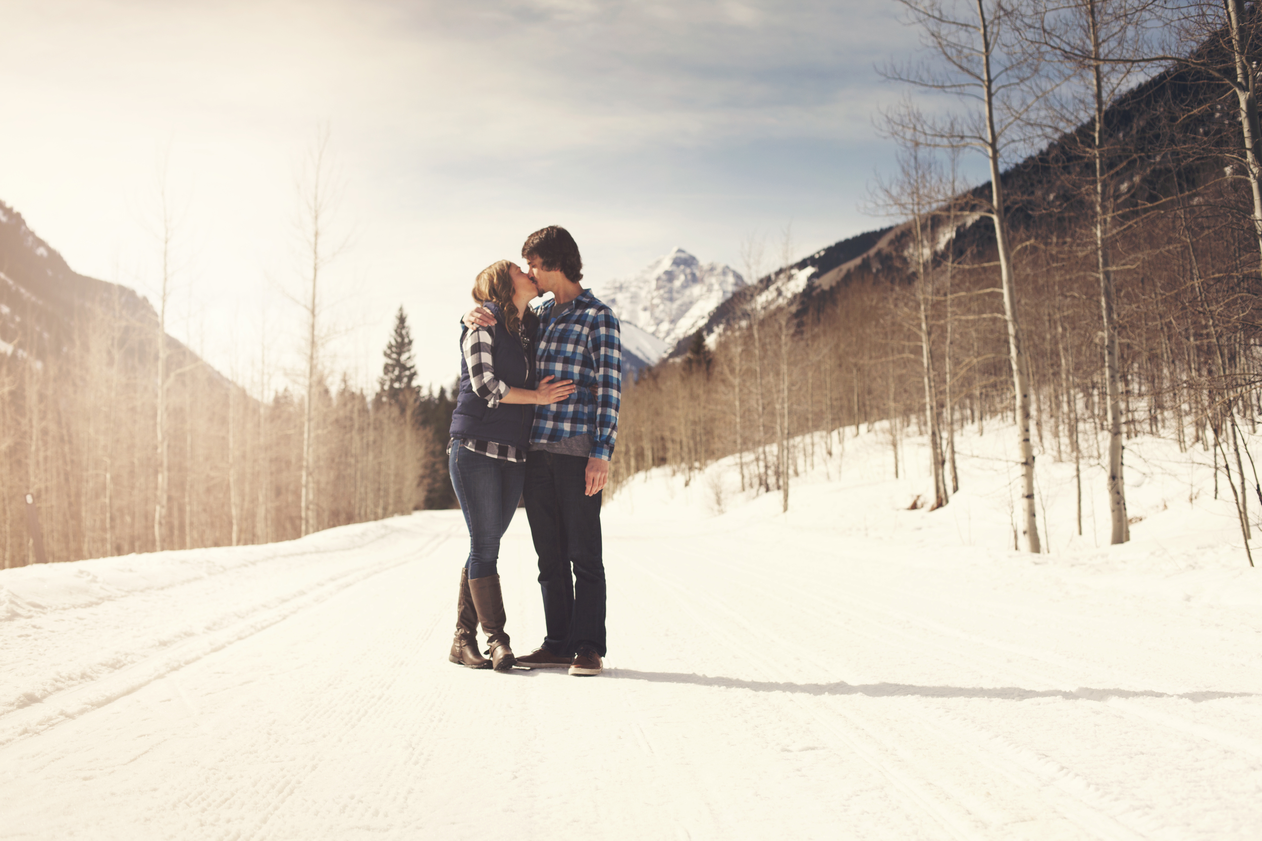 Paige And Connor S Aspen Engagement Session Couloir