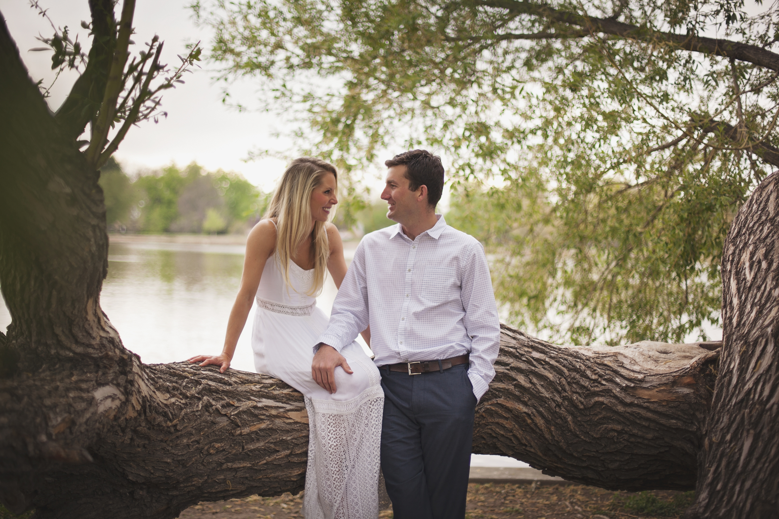 City Park engagement photography of engaged couple sitting on tree limb in front of lake
