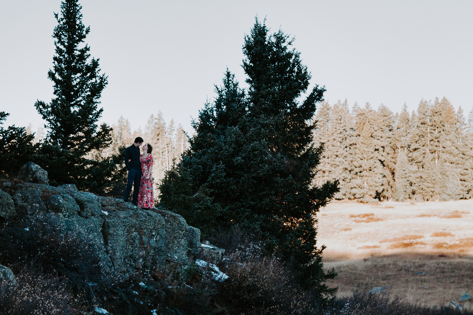 Man in black and woman in pink dress standing on rock in the Grand Mesa National Forest
