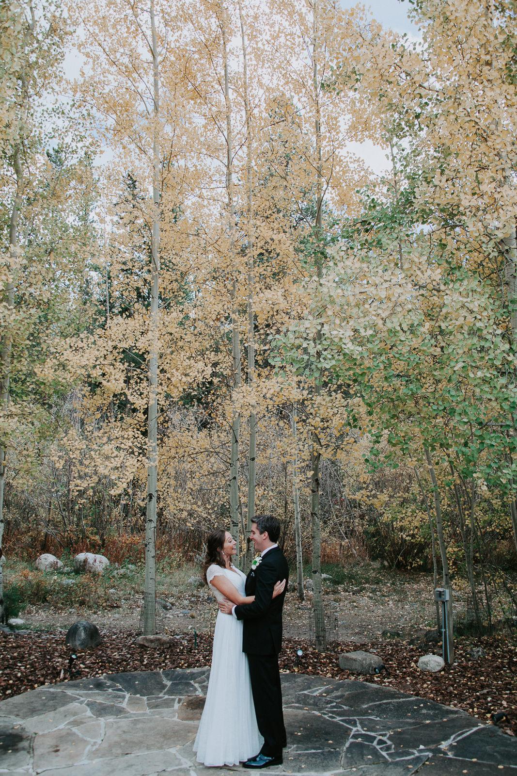 Wedding ceremony fall colors in Keystone Colorado