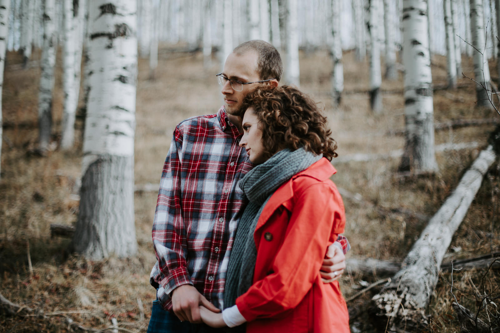 Vail Colorado Aspen trees couple engagement winter
