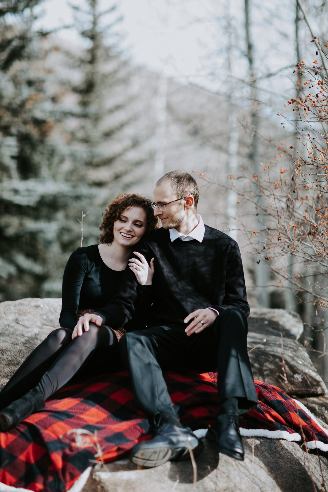 Vail Colorado Engagement Aspen Trees Blanket