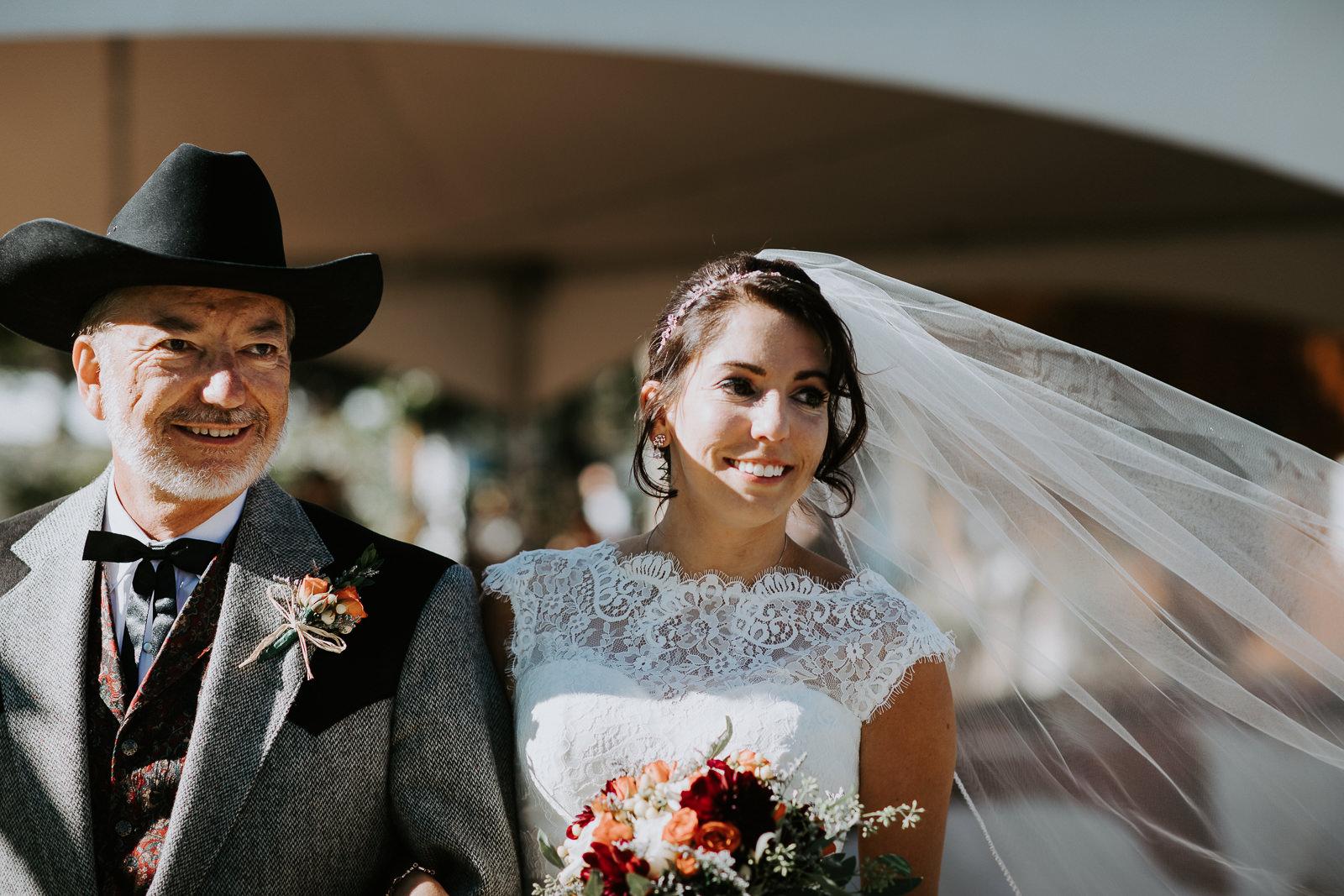 bride father aisle walking portrait Palisade Colorado