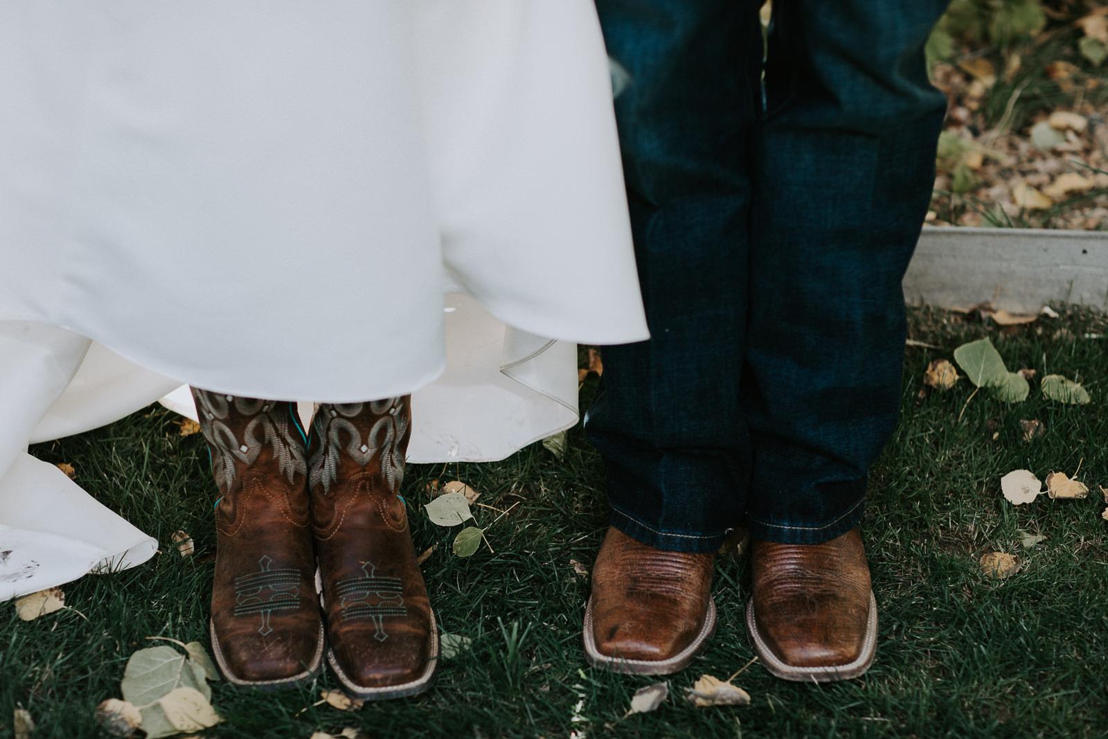 bride groom portrait wedding Palisade Colorado boots closeup