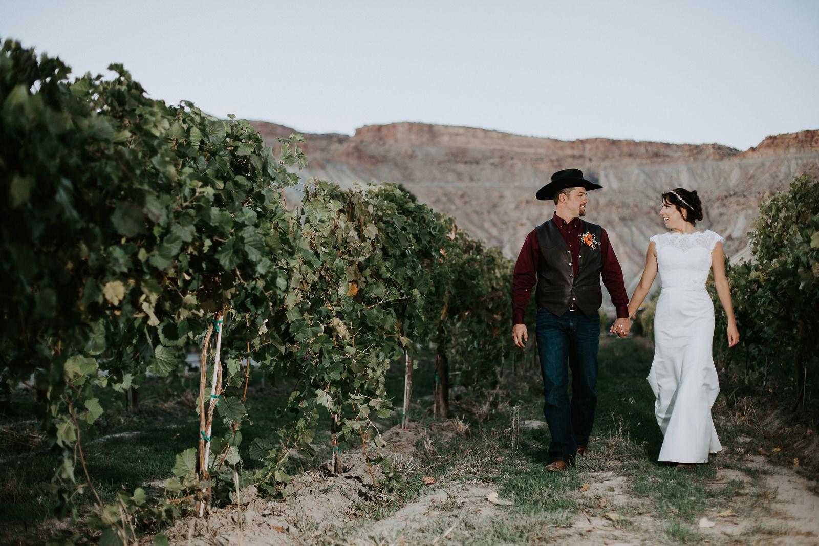 bride groom portrait wedding Palisade Colorado Mount Garfield bookcliffs vineyard
