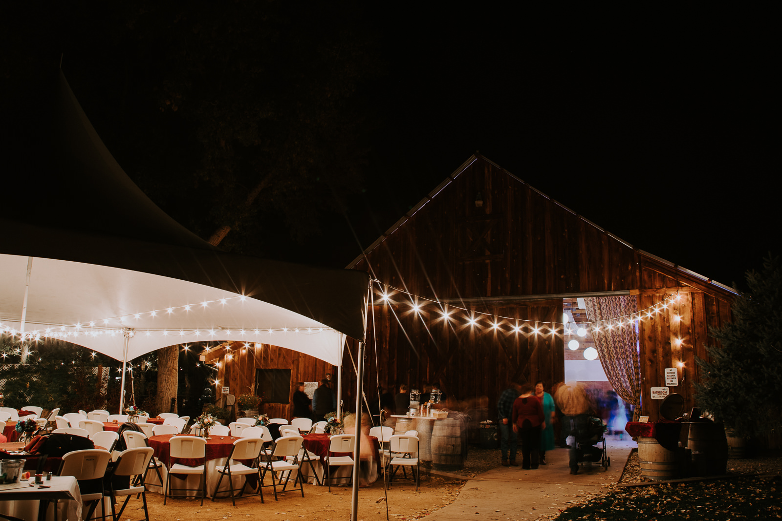 Maison La Belle Vie Amy's Courtyard night long exposure wedding