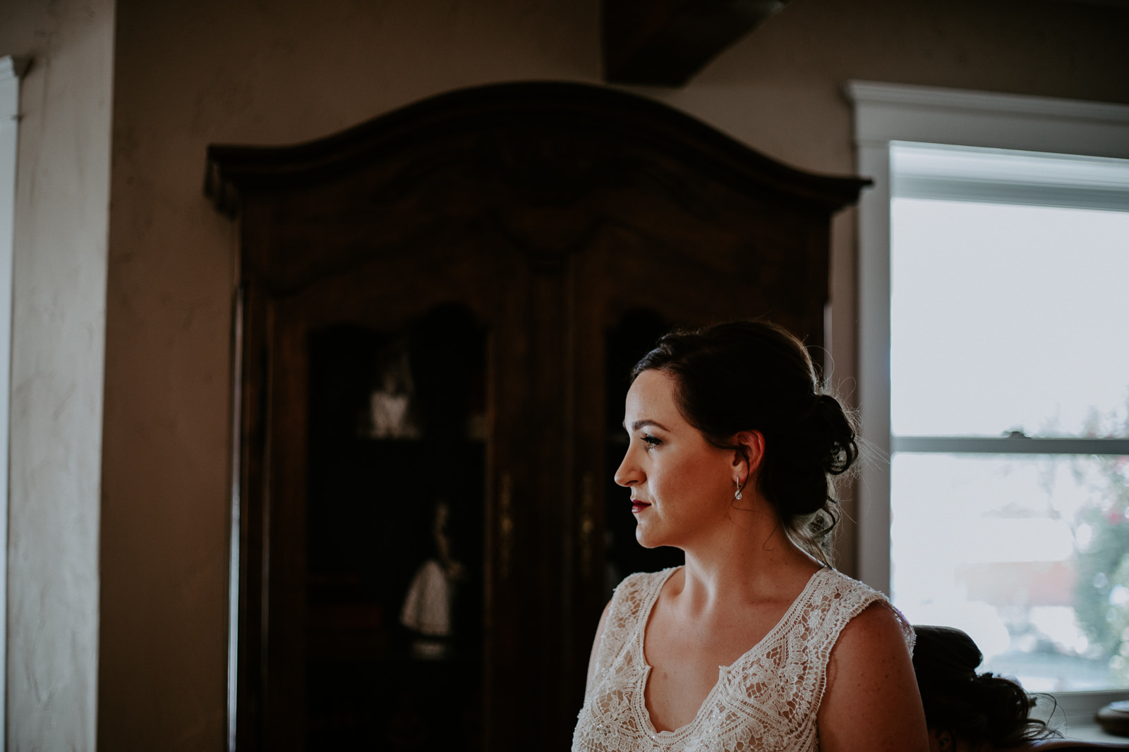 Bride having a quiet moment alone before wedding