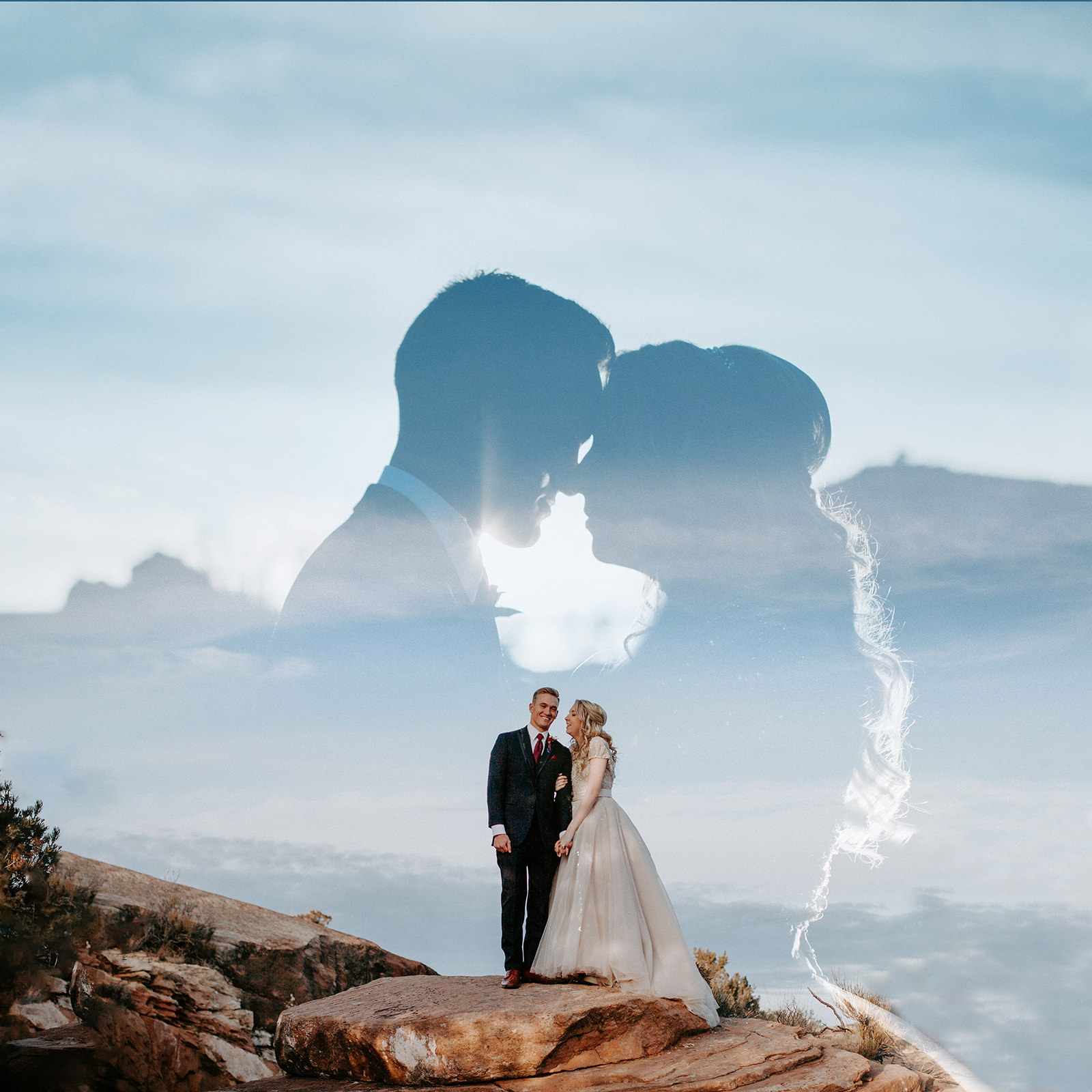 Double exposure of bride and groom silhouetted in background and smiling in foreground
