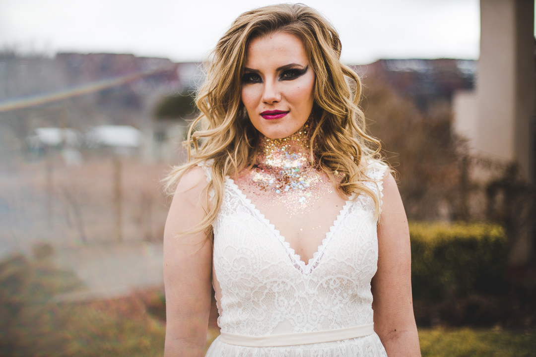 Bride with elegant and heavy makeup