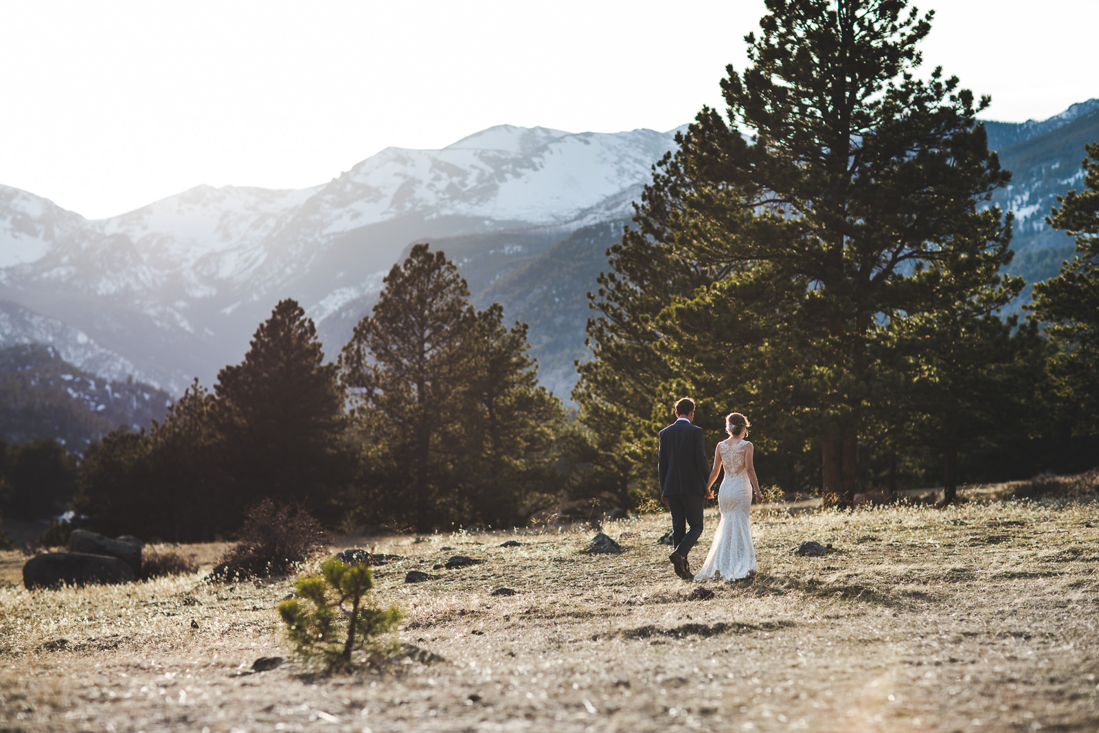 Bride and groom walk hand in hand through mountain meadow in RMNP