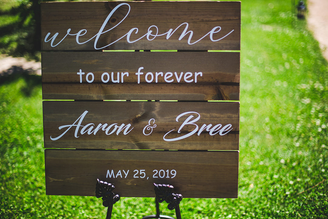 Detail shot of bride and groom's wedding welcome sign