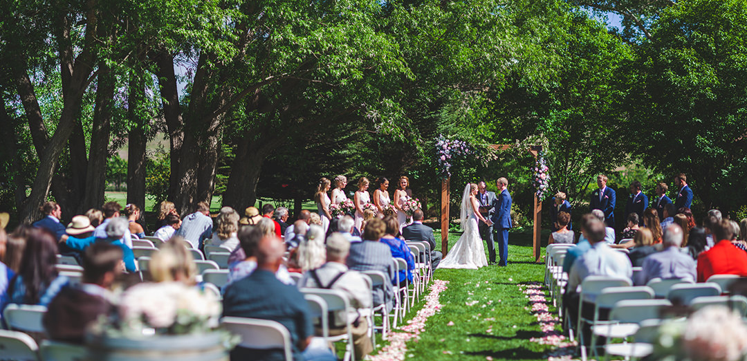 Wide angle shot of wedding ceremony in Austin Colorado
