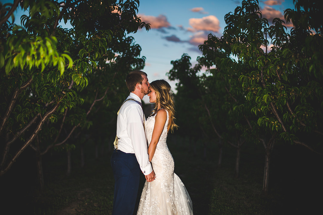 Sunset in a peach orchard with the bride and groom taking a few quiet moments