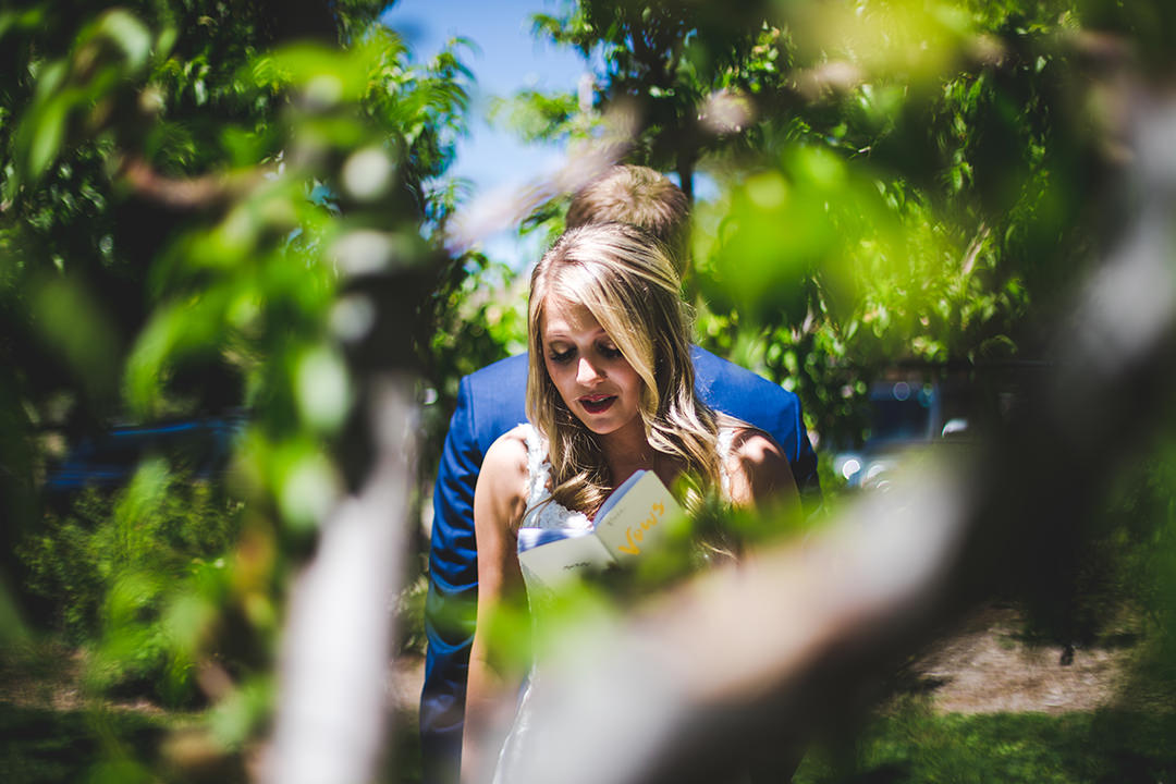 Bride reading private vows to her groom in a peach orchard
