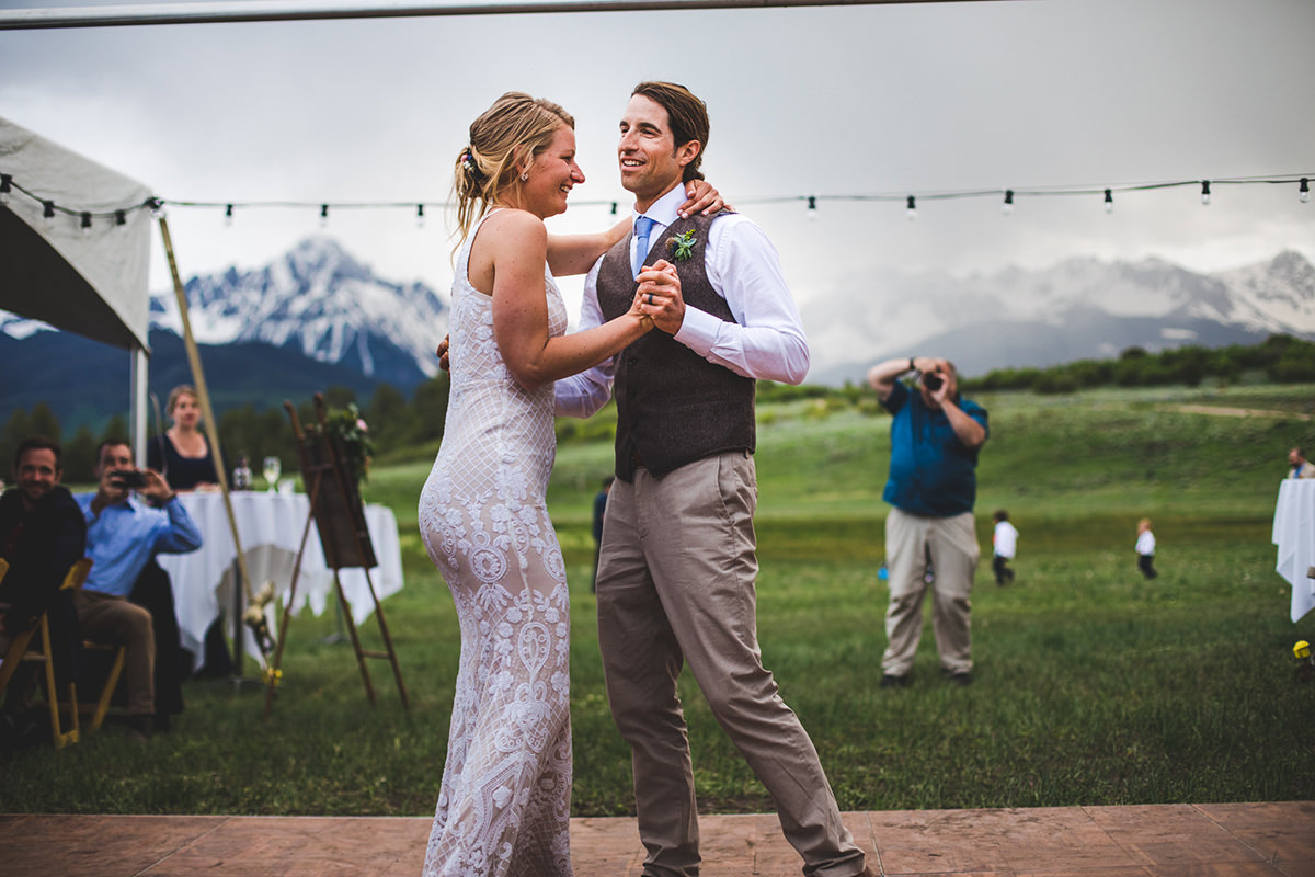 First dance for bride and groom at Top of the Pines in Ridgway