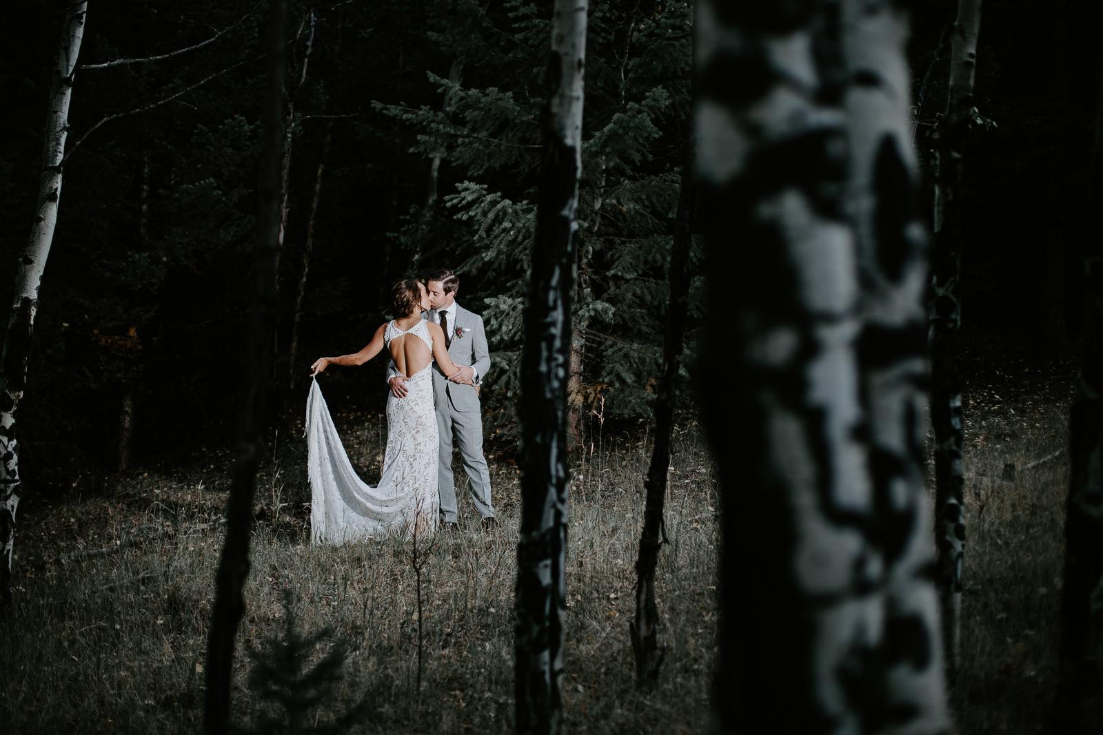 Darker photo of aspens with bride and groom illuminated