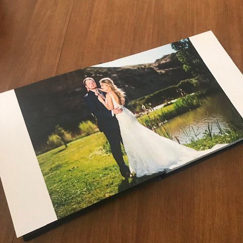Wedding album photo of bride and groom at Black Canyon Anglers Lodge near Grand Junction Colorado