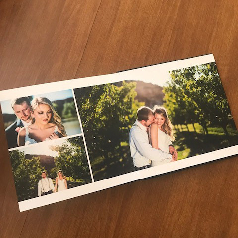 Bride and groom photos in a wedding album from a wedding near Grand Junction, CO