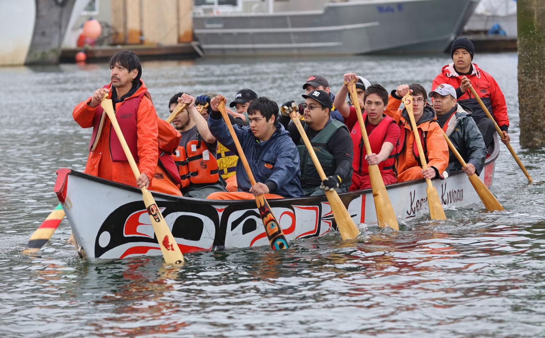 Alaska Native canoe Shakes Island Rededication Wrangell Alaska