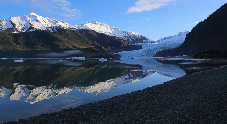 Mendenhall Glacier, Juneau, Alaska in the early morning.
