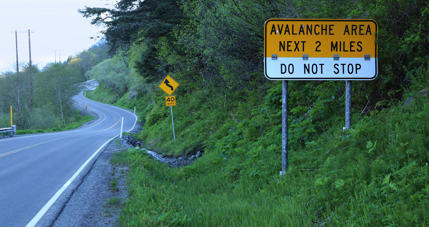 Avalanche warning sign on Thane Road to the south of downtown Juneau
