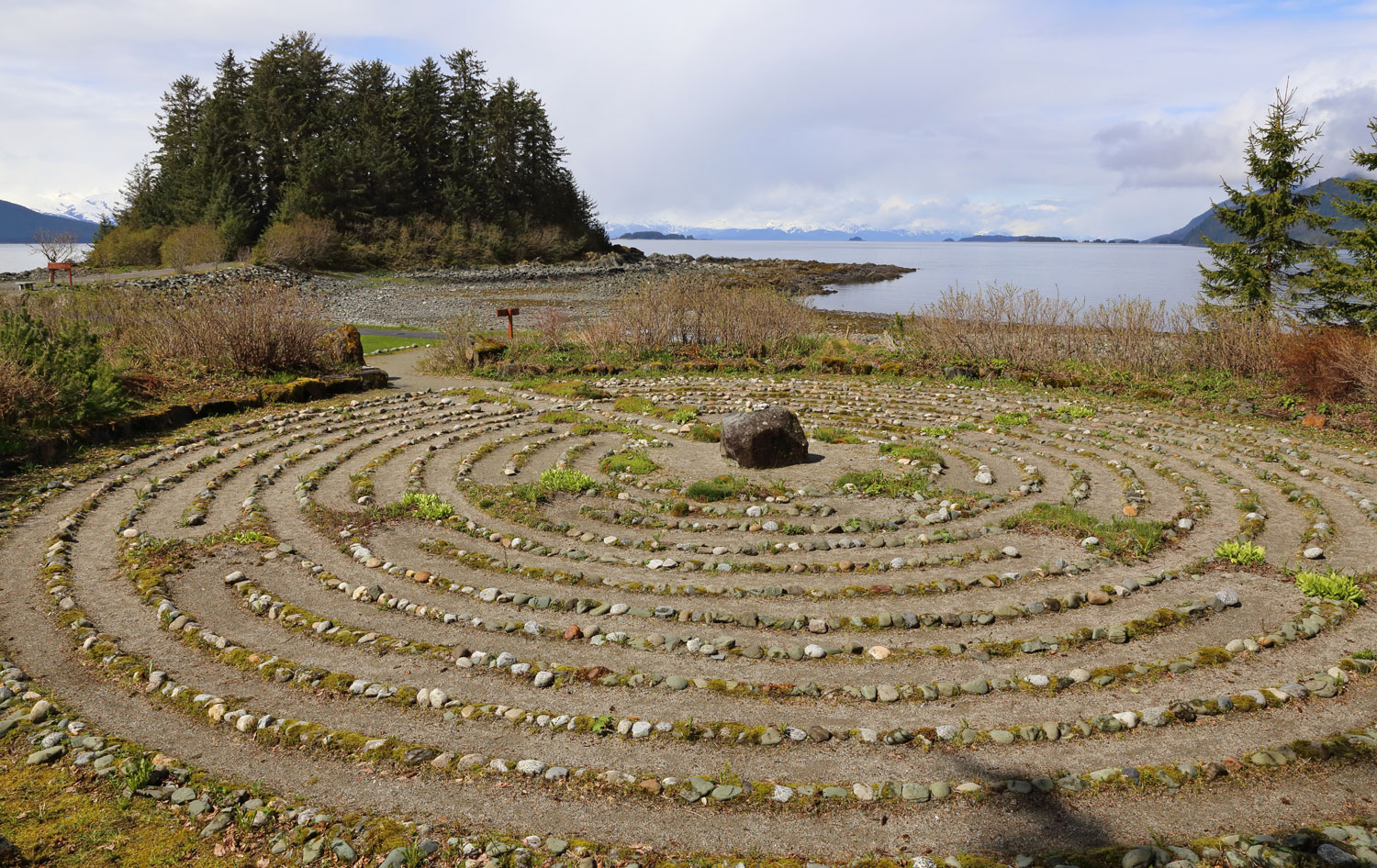 The Merciful Love Labyrinth at the Shrine of St. Therese. The chapel is on the island behind the labyrinth.
