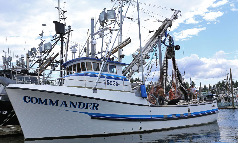 Commander Seine seiner commercial fishing boat Petersburg southeast alaska crew working net harbor