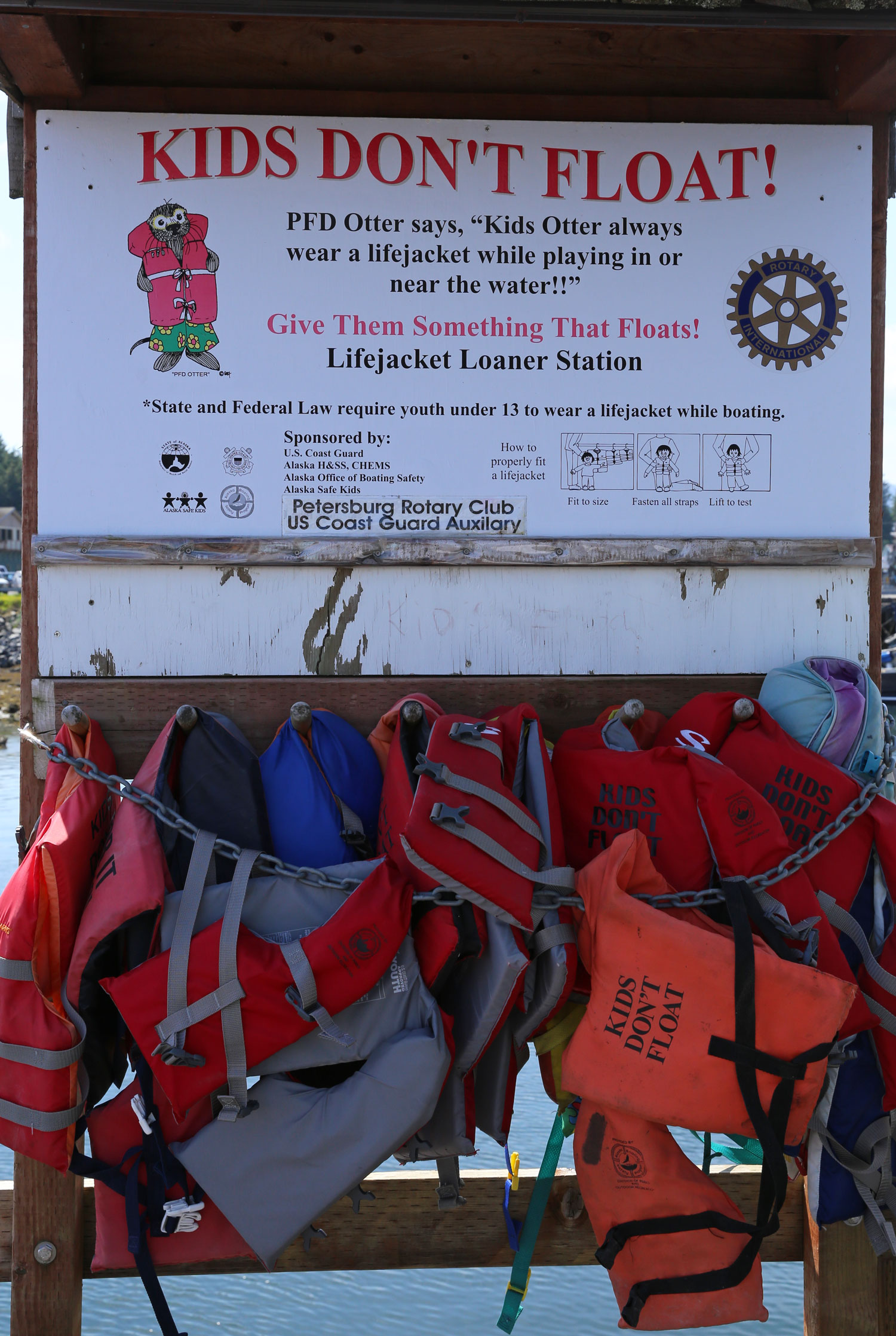 Kids Don't Float provides free use of life jackets at Alaskan harbors.