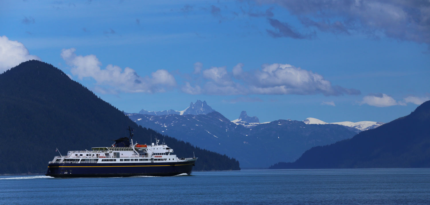 The ferry Taku headed for Wrangell.